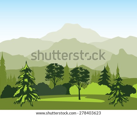 The Beautiful landscape with wood and mountain.Vector illustration - stock vector