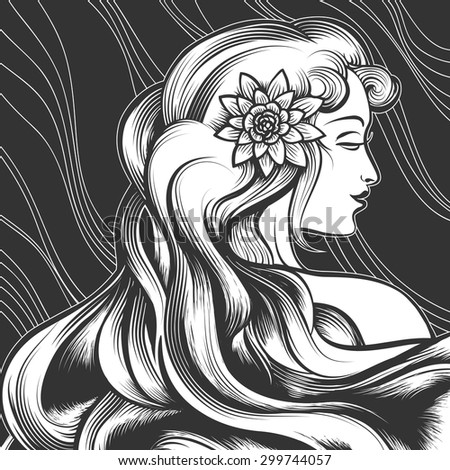 The beautiful woman with a flower in hair. Engraving style. Monochrome illustration. - stock vector