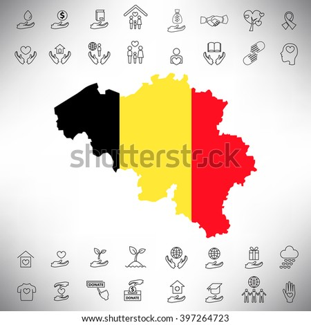 The Belgian flag and charity line icon set illustration, Vector eps10 - stock vector