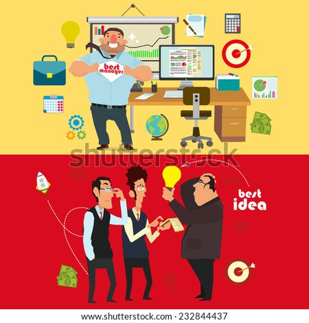 the best manager and discuss the best ideas of businessmen. vector illustration. - stock vector