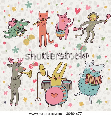 The best music band. Cartoon animals playing on various musical instruments - drums, accordion, flute, trumpet in vector - stock vector