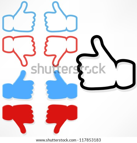 The best selection of hand in a blue jacket OK hand icon on a blue background. - stock vector