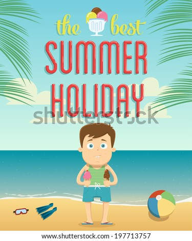 The best summer vacation with character design. Vector illustration - stock vector