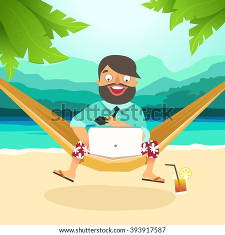 The best work, Work with pleasure. Young man sitting in hammock on the beach and working with laptop. Working outdoor, outsource concept. Vector colorful illustration in material design - stock vector