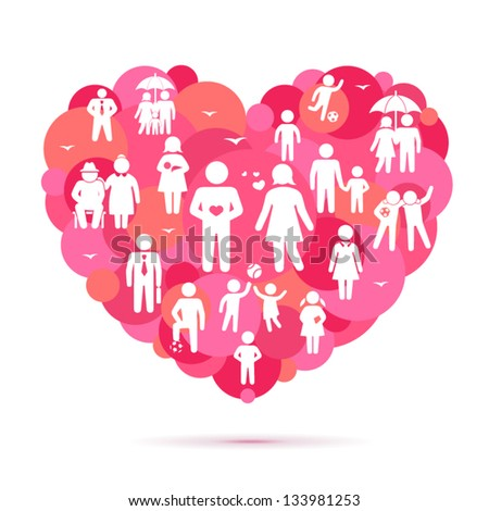 The Big Heart. Family and friends icons - stock vector