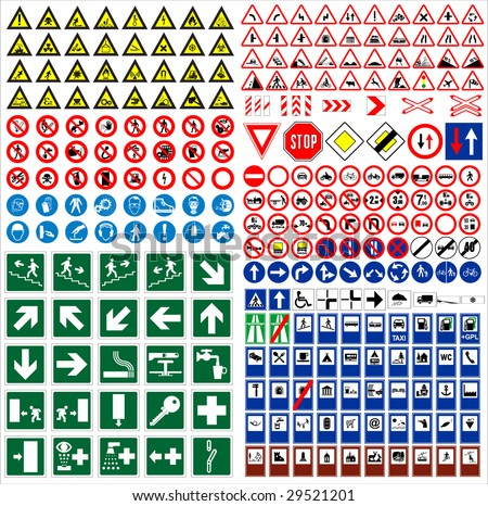 The big sign collection traffic, work, safety, harmful & other vector signs - stock vector