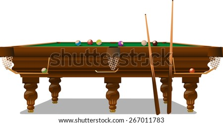 the Billiards table with cue and balls - stock vector