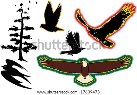 The birds - stock vector