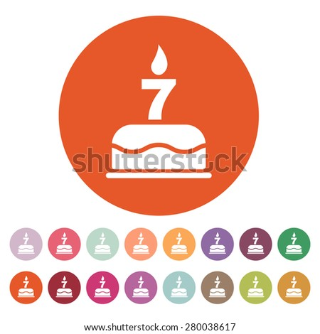 The birthday cake with candles in the form of number 7 icon. Birthday symbol. Flat Vector illustration. Button Set - stock vector
