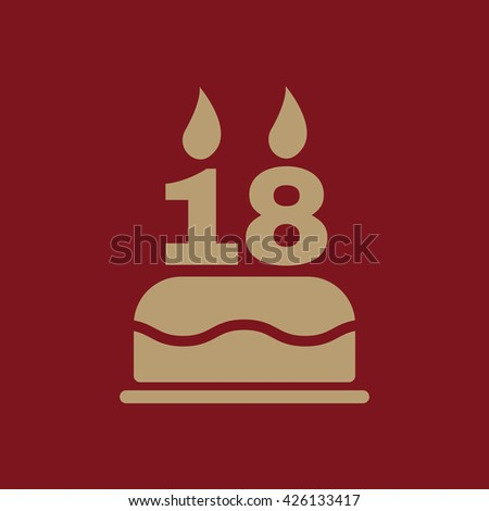 The birthday cake with candles in the form of number 18 icon. Birthday symbol. Flat Vector illustration - stock vector