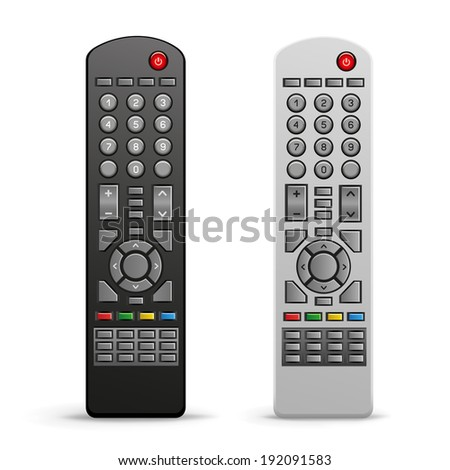The black and white tv remote controller on the white background - stock vector
