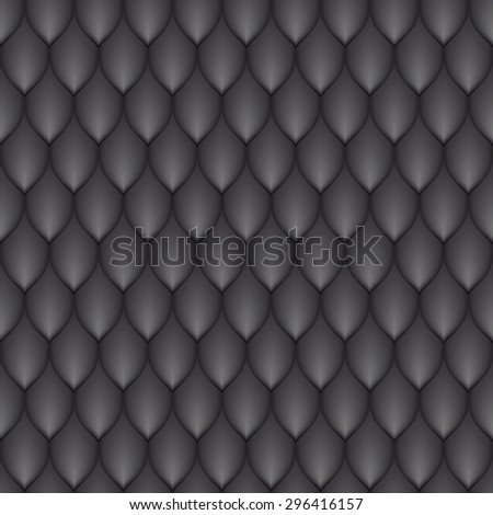 the black scales of a snake, fish, dragon, or other animal, seamless texture - stock vector