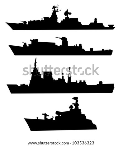 The black silhouettes of a ship. - stock vector
