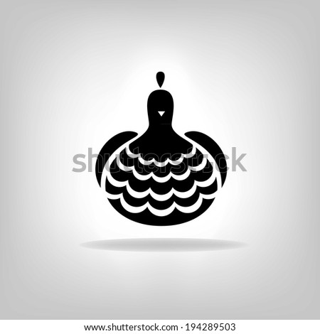 The black stylized chicken on a white background  - stock vector