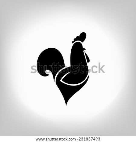 The black stylized cocks on a white background - stock vector