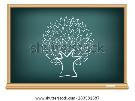 The blackboard and drawing a tree isolated on a white background - stock vector