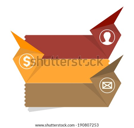 the blank communication template with head, dollar and envelope icon / the contact box template / the paper tags with pictograms - stock vector