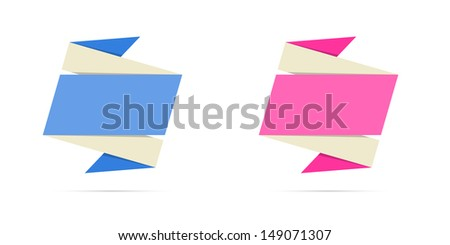 The blank origami style labels in blue and pink color ready for your text / Two origami style labels / The origami label - stock vector