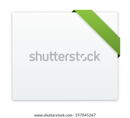the blank white web banner with blank green ribbon / the blank banner with ribbon / the sheet of paper - stock vector