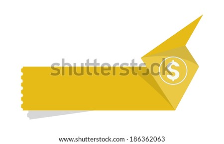 the blank yellow origami style tag with dollar icon  - stock vector