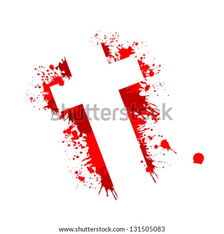 the bloody cross - stock vector