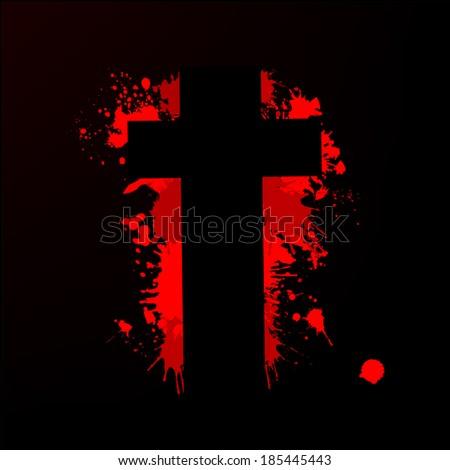 the bloody cross . Vector - stock vector