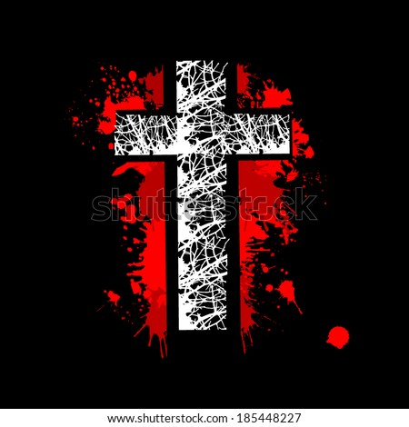 the bloody cross . Vector - stock vector