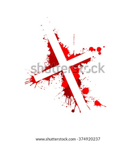 the bloody cross. Vector - stock vector
