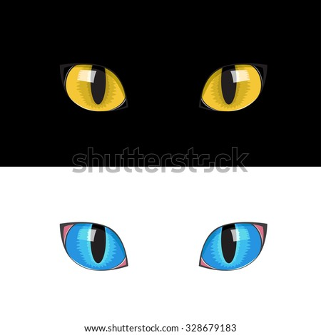 The blue and yellow cat eyes on the black and white background - stock vector