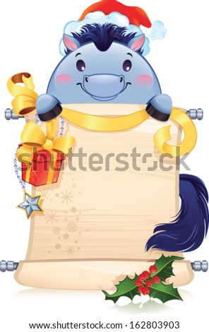 The Blue Horse is a symbol of the approaching new year. - stock vector