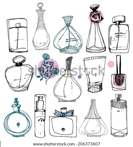 The bottles of perfume on a white background - stock vector