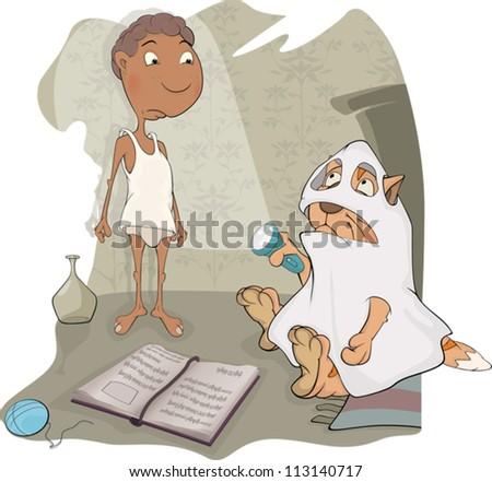 The boy, cat and halloween. Cartoon - stock vector