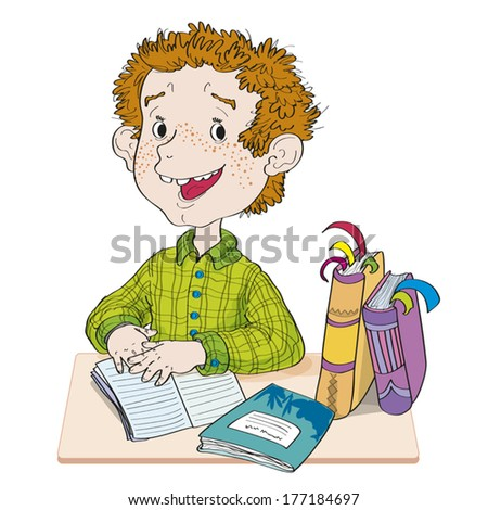 The boy does homework. The boy sits at a school desk with a writing-book and textbooks. - stock vector