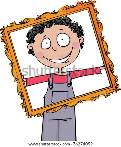 The boy holds a large frame - stock vector