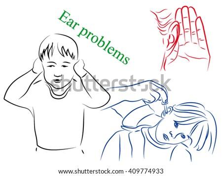 The boy hurt his ears, instill medication into the ears, pain,sore - stock vector