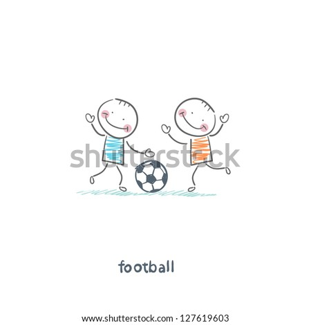 The boys are playing football. Illustration. - stock vector