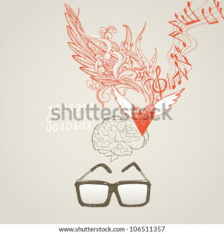 The brain and the difference in right and left hemispheres. Sciences and inspiration - stock vector