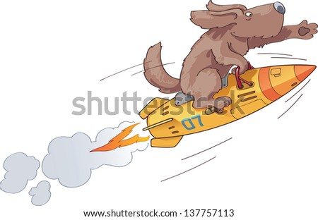The brave first dog the astronaut is flying on a fast space rocket with an inspiration. - stock vector