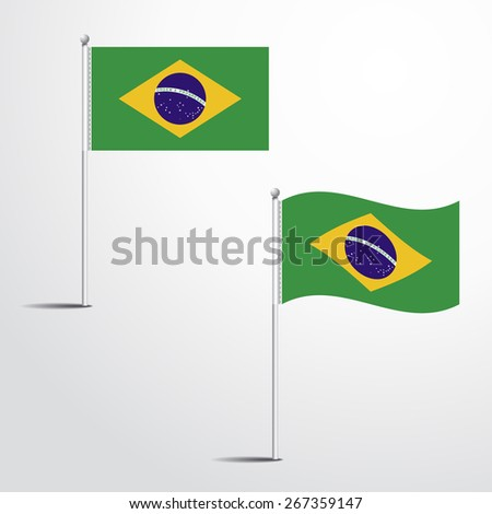 The Brazil flag normal and waving flag set | abstract flag vector eps 10  - stock vector