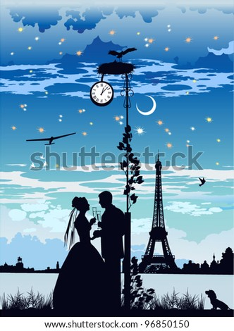 The bride and groom on the background of the Eiffel Tower - stock vector