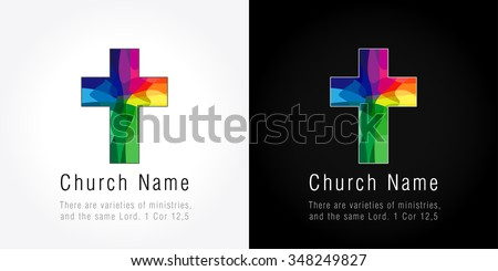 The bright faceted mosaic cross. Church mission colored logo. - stock vector