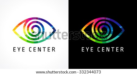 The bright icon with color schematic eye for ophthalmology centers and hospitals. Eye clinic color logo. - stock vector