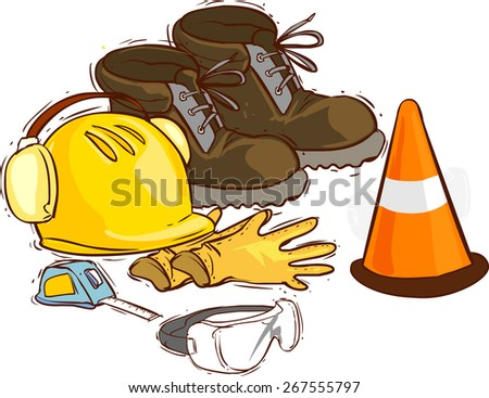 The building tools and protective means. Working boots, tools, building helmet, goggles ,meter gloves, - stock vector