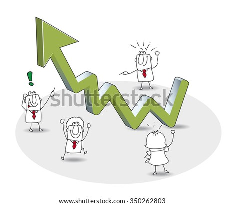 the business grows up. the results of this work team are very good.  - stock vector