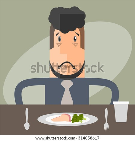 The business man does not like the clean food.  - stock vector