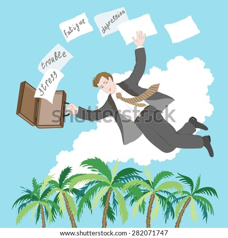 The businessman flies on the seashore to work on freelance and to be happy and free. Leaves a stress, troubles, fatigue and a depression in the past. - stock vector