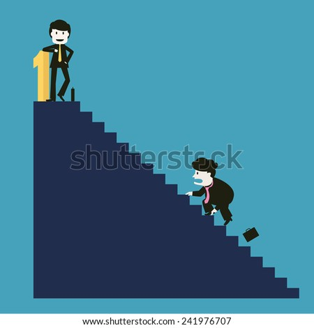 the businessman is successful while the competitor can not do - stock vector