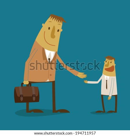 The businessman offering for handshake - stock vector