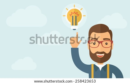 The businessman with a beard pointing to the bulb. Idea concept.  Vector flat design illustration. Horizontal layout with a text space in a left. - stock vector