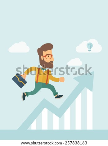 The businessmen with beard is running over growing chart. Perspective Idea concept. Vector flat design Illustration. Vertical layout with a text space in a top. - stock vector